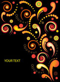 Colorful floral curve card on black background — Stock Photo