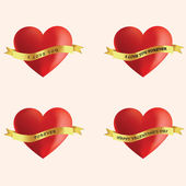 Four red hearts with message — Stock Photo