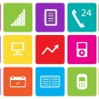 Set of communication and media icons. Vector illustration. — Stock Photo #28337213