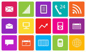 Set of communication and media icons. Vector illustration. — Stock Photo