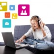Beautiful woman communicate with people by means laptop — Stock Photo