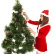 Beautiful smiling woman dreesed fir tree — Stock Photo