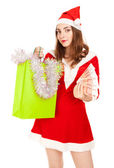 Beautiful woman in red new year costume with a lot of rubles — Stock Photo