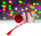 New year ball with gift box — Stock Photo