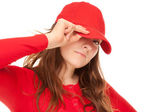Close-up of a young woman with cap — Stock Photo