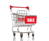 Shopping cart with sale inscription — Foto Stock