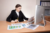 Businesswoman looking  on documents badly — Stock Photo