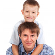 Portrait of happy father and son. isolated — Stock Photo