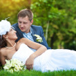 Royalty-Free Stock Photo: Happy bride and groom are lying on green grass