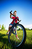 Six year old boy on a bike — Stock Photo