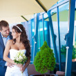 Bride and groom is hugging near the glass wall — Stock Photo