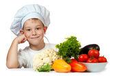 Szef kuchni cute chłopiec się uśmiecha. na białym tle — Zdjęcie stockowe