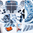 Set of parts of beautiful white vintage car. retro — Stock Photo