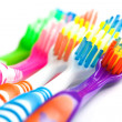 Set of multicolored toothbrushes isolated on white — Stock Photo