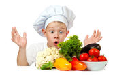 Surprised boy Chef — Stock Photo