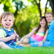 Baby resting in the summer park. picnic — Stock Photo