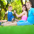 Happy family are resting in the green summer park — Stock Photo