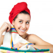 Young beautiful girl with rad towel on her head — Stock Photo #14694919