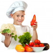 Stock Photo: Cute boy Chef with cauliflower and bell pepper. isolated
