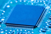 Electronic circuit board with chip — Stock Photo