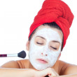 Foto Stock: Beautiful womin towel with facial mask