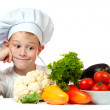 Stock Photo: Cute scullion with raw vegetables