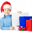 Happy kid with Christmas gifts — Stok fotoğraf