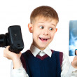 Boy is holding camera and taking X-ray photo — Stock Photo