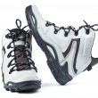 Stock Photo: A pair of new white hiking boots on white background