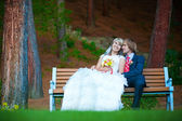Happy newlyweds are hugging in the green park — Stock Photo