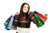 Shopping. Beautiful Happy Girl with Shopping Bags. — Stock Photo