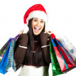 Beautiful Christmas Girl with Shopping Bags. — Stock Photo