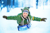Little boy on sleigh — Stock Photo