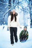 Mom is rolling her son on a sled — Stock Photo