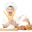 Stock Photo: Funny scullion with spaghetti in his hands. isolated