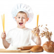 Little master chef with spaghetti in his hands — Stock Photo