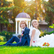 Stock Photo: Happy couple are sitting on green grass