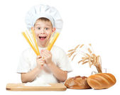 Funny scullion with spaghetti in his hands. isolated — Stock Photo