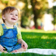 Baby is playing on the green grass — Stock Photo #18964997