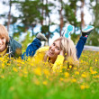 Loving couple for a walk in the sunny park — Stock Photo