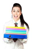 Chica feliz con carpetas de oficina — Foto de Stock