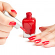 Manicure. applying nail polish. isolated — Stock Photo