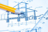 Dibujos de ingeniería y arquitectura — Foto de Stock