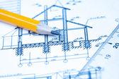 Disegni di ingegneria e architettura — Foto Stock