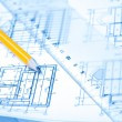 Engineering and architecture drawings with pencil — Stock Photo