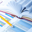 Finance Statistical graphs and notebook - Stock Photo