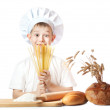 Funny scullion with spaghetti hands — Stock Photo
