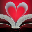 Stock Photo: Sign of heart with book pages on red