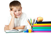 Nice kid with books and pencils — Stock Photo