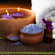 Lavender bath salt and flower. spa — Stock Photo